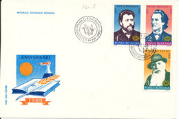 Romania FDC 18-8-1989 Romanian Writers Complete Set Of 3 With Cachet