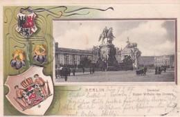 2791128Berlin, Denkmal Kaiser Wilhelm Des Grossen(Reliëf Karte) (Briefmarke Der Post 1905)(Rechts Kleines Risschen) - Germany