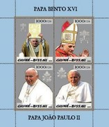 GUINE BISSAU 2005 SHEET SILVER POPE JOHN PAUL II PAPE JEAN PAUL PAPA JUAN PABLO BENEDICT XVI RELIGION Gb5p03a - Guinea-Bissau