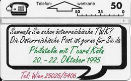 405L Philatelia Mit T'Card Expo 1995, Köln - Oesterreich