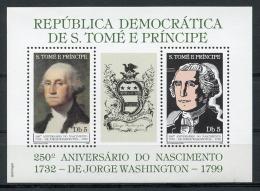 Sao Tome And Principe, 1982, 250th Birthday Of George Washington, USA President, MNH Perforated Sheet, Michel Block 97A - Sao Tome Et Principe