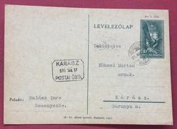 UNGHERIA HUNGRY  CARTOLINA  POSTALE 10 F DA BESENYSZÖG A KARASZ ( Annullo In Cartella ) IN DATA 17/3/1939 - Brieven En Documenten