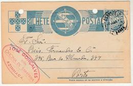 Postal Stationery * Portugal * Azinhaga * Sapataria * 1940 * Holed