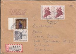 HILDEGARD VON BINGEN, MONUMNET, IMMANUEL KANT , STAMPS ON REGISTERED COVER, 1981, GERMANY