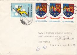 SKIING- OLYMPIC GAMES, BRASOV COUNTY COAT OF ARMS, STAMP ON COVER, 1990, ROMANIA