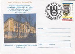 ALBA IULIA UNIVERSITY, SPECIAL COVER, 2001, ROMANIA