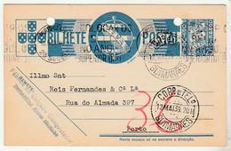 Postal Stationery * Portugal * Guimarães * Calçado Conquistador * 1939 * Holed