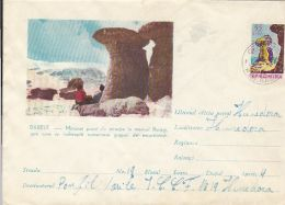 BUCEGGI MOUNTAINS- THE BABELE ROCKS, COVER STATIONERY, ENTIER POSTAL, 1962, ROMANIA