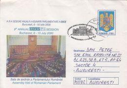 OSCE PARLIAMENTARY MEETING, ROMANIAN PARLIAMENT, COVER STATIONERY, ENTIER POSTAL, 2000, ROMANIA - Ganzsachen
