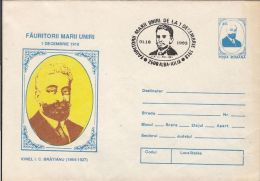 GREAT UNION MAKERS, IONEL I.C. BRATIANU, COVER STATIONERY, ENTIER POSTAL, 1993, ROMANIA