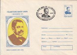 GREAT UNION MAKERS, IANCU FLONDOR, COVER STATIONERY, ENTIER POSTAL, 1993, ROMANIA