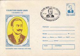 GREAT UNION MAKERS, ALEXANDRU VAIDA VOIEVOD, COVER STATIONERY, ENTIER POSTAL, 1993, ROMANIA