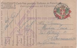 VENDO N.1CARTOLINA MILITARE IN FRANCHIGIA.CON POSTA MILITARE.N.28 DELLA SEZIONE LANCIAFIAMME - War 1914-18