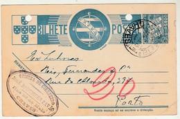 Postal Stationery * Portugal * Chaves * Correeiro * 1939 * Holed - Enteros Postales