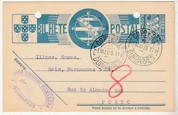 Postal Stationery * Portugal * Guimarães * 1939 * Holed