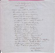 Poeme Autographe De Justin CHABASSOL Chansonnier Humoriste Membre Du Caveau De La République - Autographs