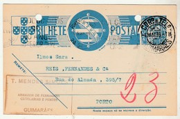Postal Stationery * Portugal * Guimarães * Ferragens * Cutelarias * 1939 * Holed