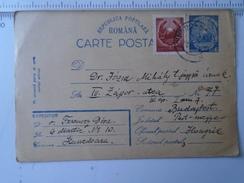D150186 Romania  -Postal Stationery  - 6 Lei - 1951 -Ferenczy - Jozsa - Hunedoara -Budapest