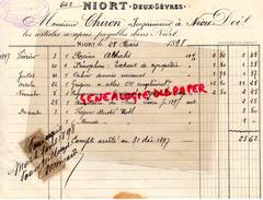 79 - NIORT- FACTURE LIBRAIRIE L. CLOUZOT- A M. CHIRON IMPRIMEUR A NIORT-IMPRIMERIE- 1898 - Imprimerie & Papeterie