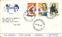 Brazil Cover Sent To Denmark Sao Paulo 24-5-1983 With More Topic Stamps - Brazil