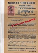 54 - NANCY - MANUFACTURE LEVURE ALSACIENNE- E. MOENCH- ALSACAKE ALSA- 1937 - Levensmiddelen
