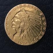 USA 5 Dollars 1914 Indian Head Half Eagle - L. Gold