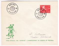 947 Calcio Soccer Sweden World Football Championship 8.6.1958 Malmö Letter To Hangöby Finland