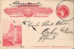 21993 Uruguay, Stationery Card Circuled Showing A Montevideo Stock Exchange Building, Borse - Münzen