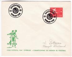 948 Calcio Soccer Sweden World Football Championship 8.6.1958 Sandviken Letter To Hangöby Finland