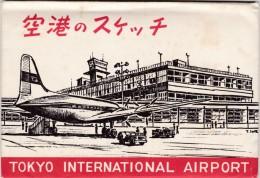 Tokyo Japan International Airport, Views Of Terminal Interior Planes Etc  In Lot Of 7 C1960s Vintage Postcards - Aerodromes