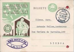 Postcard Circled Stationery Lagos,Faro.Civil Defense.Family.Logo Of Portuguese Legion.Ganzsachen.Portugiesische Legion.