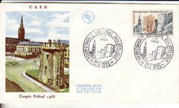 Caen, Cachet XXXVII Ième Congrès National Philatélique, Caen Le 1er Juin 1963 - FDC