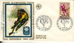 Grenoble Jeux Olympiques D'hiver, Cachet Grenoble Le 6 Février 1968 - FDC