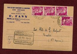 "VERJUX  (71) : "" Maison P. FAMY ""  Avec TP N° 806 Type GANDON  (1949) - 1921-1960: Periodo Moderno"