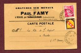 """VERJUX  (71) : """" Maison P. FAMY """"  Avec TP N° 716 Type GANDON  (1947) - Marcophilie (Lettres)"""