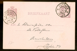 HANDGESCHREVEN BRIEFKAART Uit 1897 Gelopen Van ZUTPHEN Naar AMSTERDAM     (10.633M) - Postal Stationery
