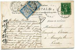 INDOCHINE CARTE POSTALE DEPART HANOI ? MARS 07 TONKIN TAXEE A L'ARRIVEE A CAMPILE 17-4-07 CORSE - Indochina (1889-1945)