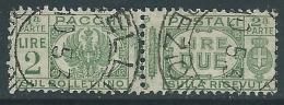 1927-32 REGNO USATO PACCHI POSTALI 2 LIRE - Z6-3