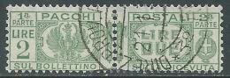1927-32 REGNO USATO PACCHI POSTALI 2 LIRE - Z8-4