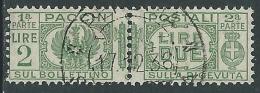 1927-32 REGNO USATO PACCHI POSTALI 2 LIRE - Z8-7