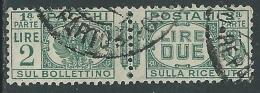 1927-32 REGNO USATO PACCHI POSTALI 2 LIRE - Z9-6