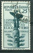 BM Italien 1954 - MiNr 911 - Used - 1. Postbeförderung Mailand-Turin Mit Dem Hubschrauber - 1946-60: Gebraucht