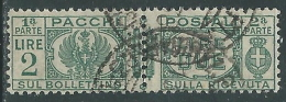 1927-32 REGNO USATO PACCHI POSTALI 2 LIRE - Z10-7