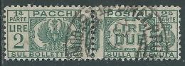 1927-32 REGNO USATO PACCHI POSTALI 2 LIRE - Z10-8