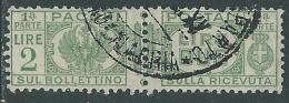 1927-32 REGNO USATO PACCHI POSTALI 2 LIRE - Z10-9