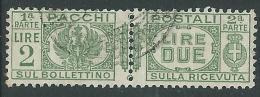 1927-32 REGNO USATO PACCHI POSTALI 2 LIRE - Z11-8