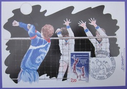 Carte Postale Maximum - FDC - Championnat Volley-Ball - 1986 - YT 2420 - J. Combet - Cartes-Maximum