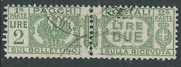 1927-32 REGNO USATO PACCHI POSTALI 2 LIRE - Z11-9
