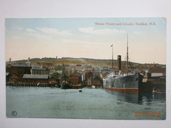 Postcard Water Front & Citadel Halifax Nova Scotia By EP Charlton Of Halifax Steam Ship In Dock  My Ref B11194 - Halifax
