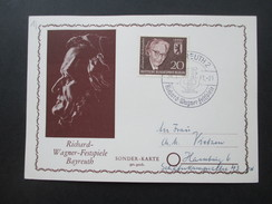 Berlin 1961 Nr. 198 Sonderkarte Richard Wagner Festspiele Bayreuth. Sonderstempel. - Berlin (West)